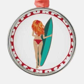 サーファーの女の子の背部意見 メタルオーナメント