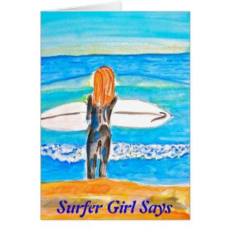 サーファーの女の子 カード
