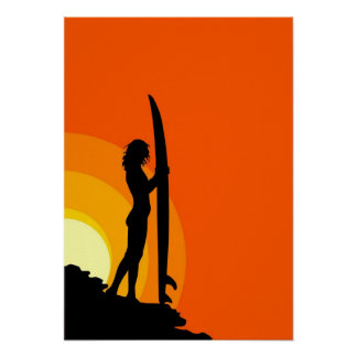 サーファーの女の子 ポスター