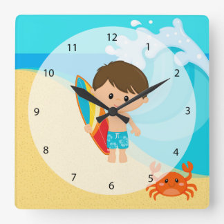 サーファーの男の子 スクエア壁時計