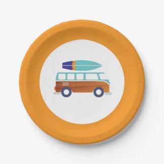 サーファーの紙皿のヴィンテージのサーフボードの紙皿 ペーパープレート