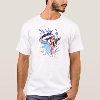 サーファーの美しい及び波獣 Tシャツ