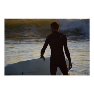 サーファーシリーズ-日の出のサーファー ポスター