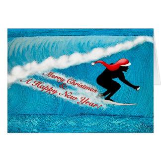 サーフィンのサンタのクリスマスカード グリーティングカード