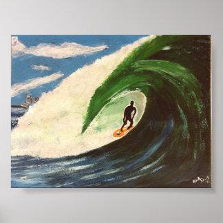 サーフィンのサーファー管の乗車の波の海の芸術 ポスター