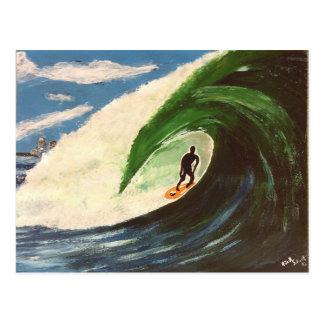 サーフィンのサーファー管の乗車の芸術の絵画の郵便はがき ポストカード