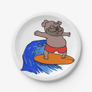 サーフィンのパグ ペーパープレート