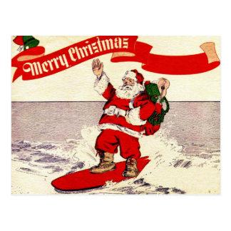 サーフィンのレトロのサンタの郵便はがき ポストカード