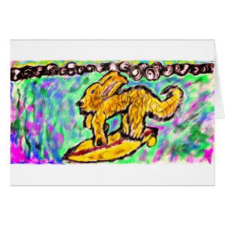 サーフィンの金ゴールドのレトリーバー グリーティングカード