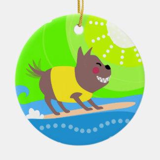 サーフィン犬 セラミックオーナメント