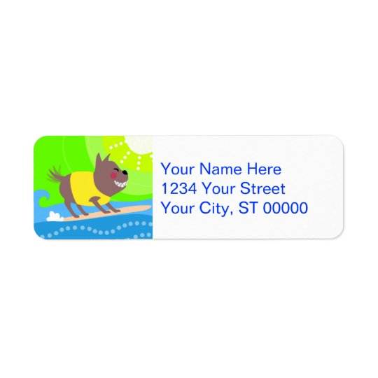 サーフィン犬 返信用宛名ラベル