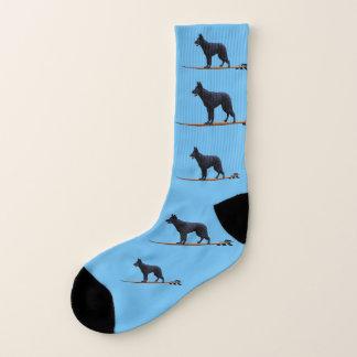 サーフィン犬-黒い羊飼いの大きいソックス ソックス