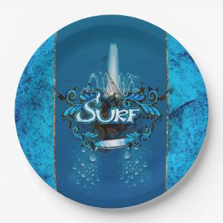 サーフィン、装飾的な花の要素が付いているサーフボード ペーパープレート