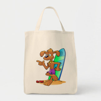 サーフボードおよび犬の再使用可能な買い物袋の戦闘状況表示板 トートバッグ