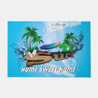 サーフボードとの熱帯デザイン ドアマット