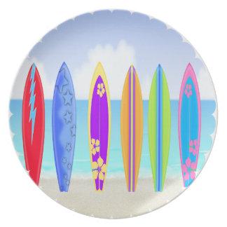 サーフボードのビーチのメラミンプレート プレート