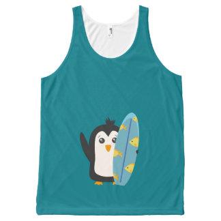サーフボードのペンギン オールオーバープリントタンクトップ