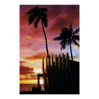 サーフボードの日没ポスター ポスター