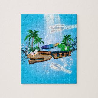 サーフボード、やしおよび花との熱帯デザイン ジグソーパズル