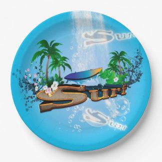 サーフボード、やしおよび花との熱帯デザイン ペーパープレート
