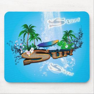 サーフボード、やしおよび花との熱帯デザイン マウスパッド