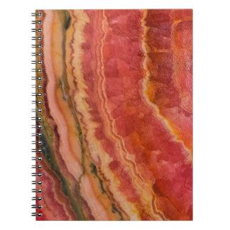 サーモンピンクのストライプのな水晶 ノートブック