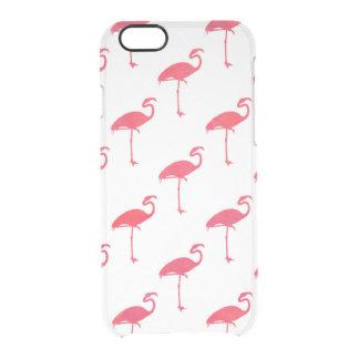 サーモンピンクのフラミンゴの水彩画の熱帯フラミンゴ クリアiPhone 6/6Sケース