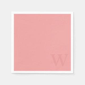 サーモンピンクのモノグラムの紙ナプキン スタンダードカクテルナプキン