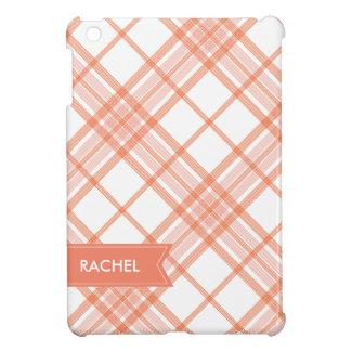 サーモンピンクの格子縞のモノグラムのiPad iPad Miniケース
