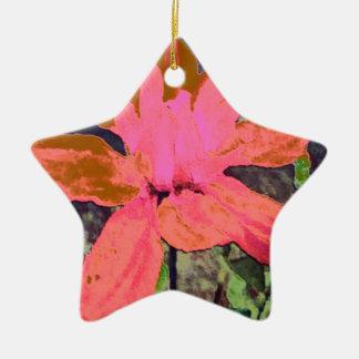 サーモンピンクの花のダリアの花模様 セラミックオーナメント