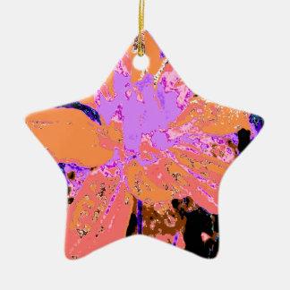 サーモンピンクの花のダリアの花模様 陶器製星型オーナメント