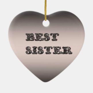 サーモンピンクの金属最も最高のな姉妹 セラミックオーナメント