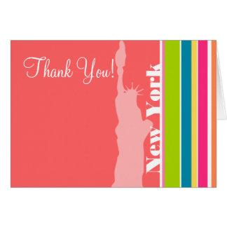 サーモンピンク及びSeafoamの緑; ニューヨーク カード