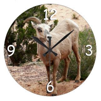 ザイオン国立公園のおもしろいなオオツノヒツジ ラージ壁時計
