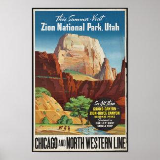 ザイオン国立公園のためのヴィンテージ旅行ポスター ポスター