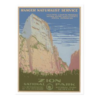 ザイオン国立公園のヴィンテージポスター郵便はがき ポストカード