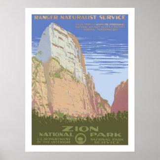 ザイオン国立公園のヴィンテージ旅行 ポスター