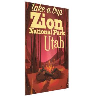 ザイオン国立公園旅行ポスター キャンバスプリント