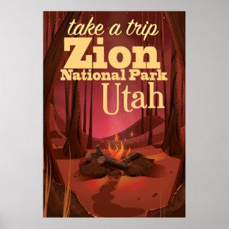 ザイオン国立公園旅行ポスター ポスター