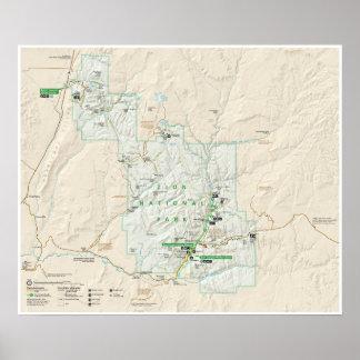 ザイオン国立公園(ユタ)の地図ポスター ポスター