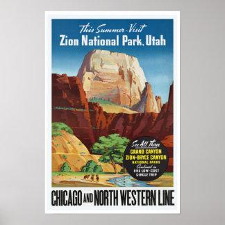 ザイオン国立公園、ユタ-ヴィンテージ旅行 ポスター