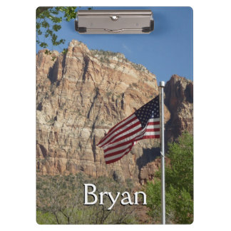 ザイオン国立公園Iの米国旗 クリップボード