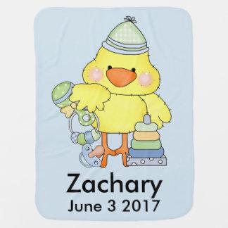 ザカリーの名前入りなベビーのひよこ ベビー ブランケット