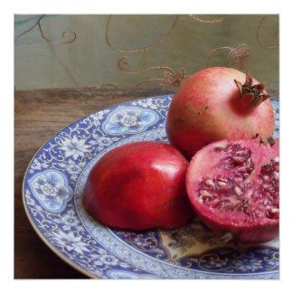 ザクロのフルーツの静物画 ポスター
