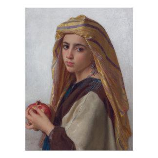 ザクロを持つBouguereauの女の子 ポスター