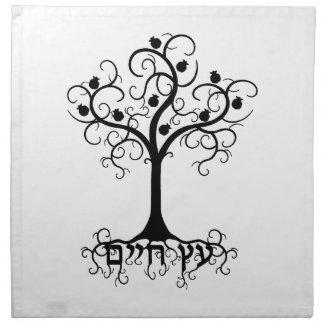 ザクロEtz Chayimとの渦巻の生命の樹 ナプキンクロス