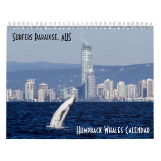 ザトウクジラのサーファーの楽園の太平洋 カレンダー