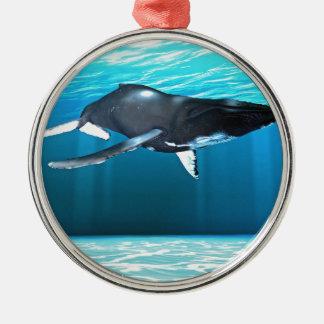 ザトウクジラの水泳 メタルオーナメント