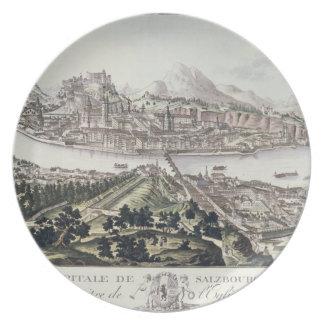 ザルツブルクの首都そして要塞の眺め、 プレート