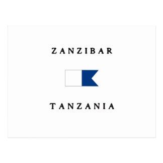 ザンジバルタンザニアのアルファ飛び込みの旗 ポストカード